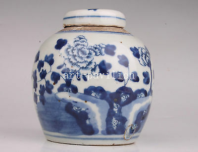 Blue White Porcelain Flowers Dotted Painting Pot Vintage Collectable Vase