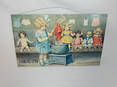 Advertising Sign Diamond Dyes A Busy Day in Dollville 16x10 Bessie Pease Gutmann