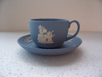 Wedgwood Blue jasperware  Cup/saucer in excellent condition .