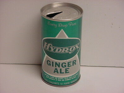 Vintage Hydrox Ginger Ale Straight Steel Pull Tab Top Opened Soda Can