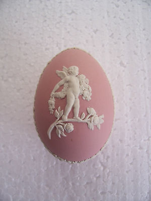 Wedgwood Pink jasperware Egg shaped box in excellent condition.