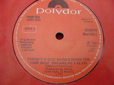 """Kirsty MacColl – Rare Irish 7"""" - There's A Guy Works Down The Chip Shop..  1981"""