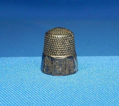 Antique Victorian Simons Brothers Sterling Silver Paneled Thimble Size 7