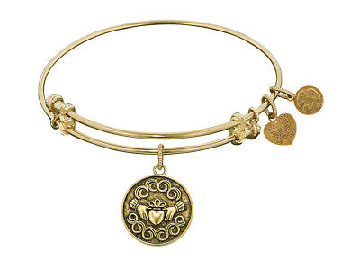 Angelica Antique Yellow Smooth Finish Brass claddagh Expandable Bangle