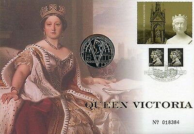 2001 Queen Victoria Royal Mint stamp and coin cover with miniature sheet
