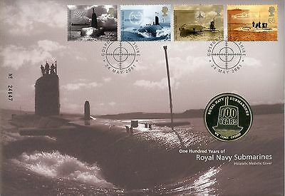 2001 Royal Navy Submarines stamp and medallion cover