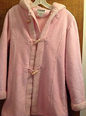 Girls Pink Faux Suede and Faux Fur Winter Coat Size  14/16