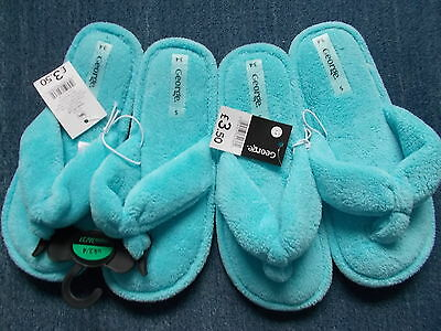 George 2 Prs Soft Towelling Toepost Slippers Size 3/4 Both New With Tags!!