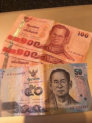 Thailand-3x 100 and 1x 50 Thai Baht Notes-used
