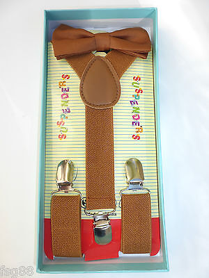 New Baby Toddler Kids Child Brown Suspenders Bow Tie Gift Box Set USA SELLER