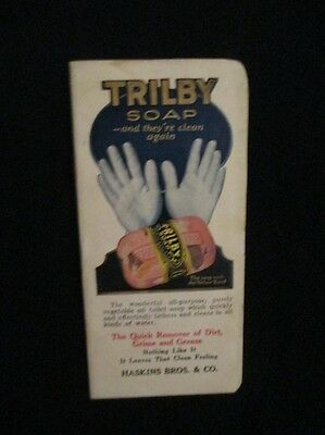 Vintage Antique Trilby Soap Trade Advertising Haskins Bros Sioux City Iowa