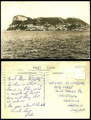 Gibraltar 1950 Old Real Photo Postcard THE ROCK from the BAY, Panorama, Mountain