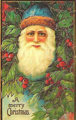 Beautiful Embossed Repro Postcard, Christmas, Santa Claus With Holly