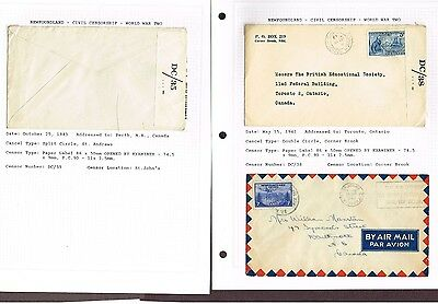 Newfoundland Censored Wwii Military Covers   (Sp29,5