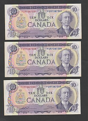 Canada 1971  10$ X3 Uncirculated Two Consecutive Numbers (Jny2