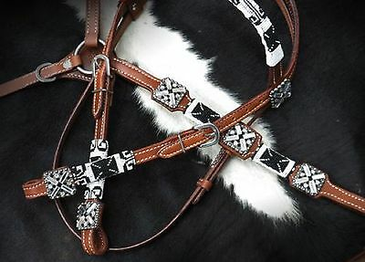 Black & White BEADED Western Leather Bridle & Breast Collar Set New Horse Tack