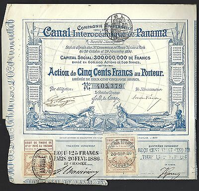 Panama Canal Co. Construction Bond 1886  w/ 2 French Revenue Stamps & 12 Coupons