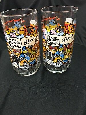 "2 The Great Muppet Caper Glasses The Happiness Hotel 5 5/8"" Tall"
