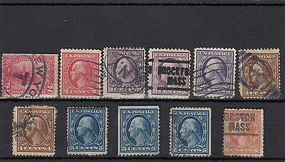 U.s.a. 11 -- 1907/8 Used Stamps On Stockcard