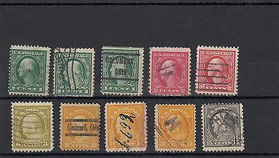 U.s.a. 10 -- 1912 Used Stamps On Stockcard