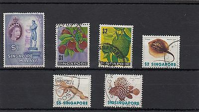 Singapore.6 -- Qe2 Onwards Used High Face Value Stamps On S/card