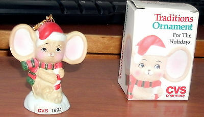 Porcelain Bisque Hand Decorated Christmas Mouse Ornament Marked Cvs 1994 Nib