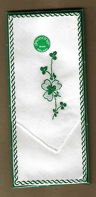 Vintage New & Boxed Greetings From Ireland Embroidered Cotton Handkerchief