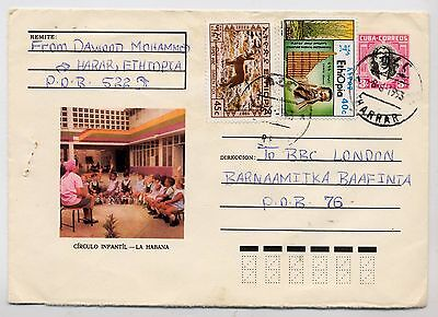 1993 Cuban Pictorial Stationary Cover Used From Ethiopia.