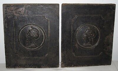 * Pair Of Antique Victorian Cast Iron Old Relief Plaque Greek Soldier Military *