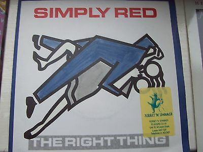 Simply Red, The Right Thing / There's A Light. Includes Rare Pluggers Sticker