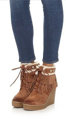 e92518aa72449 NEW SAM EDELMAN Kemper Fringe Suede Leather Ankle Booties Womens 8.5 ...