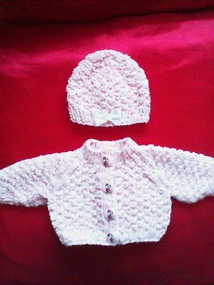 """Pink/white  Flecks 14"""" Dolls  Hand Knitted Jacket And Hat"""