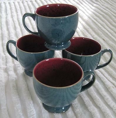 Four Denby Harlequin Green with Red Interior Footed Cups Made in England