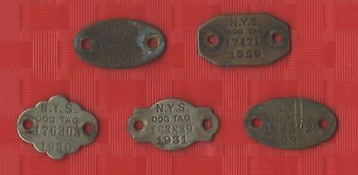 Vintage Metal Dog Tags Lot of (5) from NYS - 1928, 1929, 1930, 1931, 1932