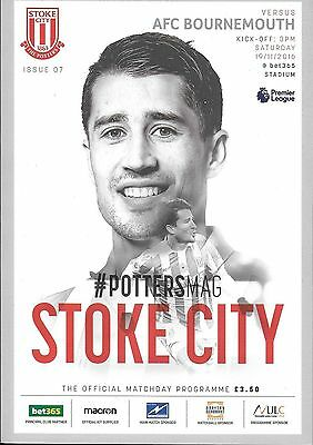 Football Programme STOKE CITY v AFC BOURNEMOUTH Nov 2016