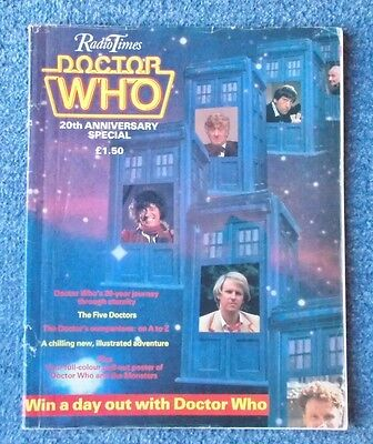 Dr Doctor Who RADIO TIMES 20th ANNIVERSARY SPECIAL 1983 with poster - 64 pages