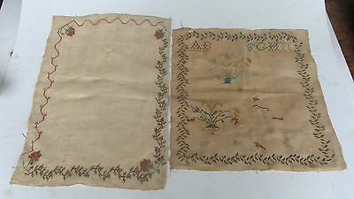 Two ca 1800 incomplete silk on linen samplers, no reserve *