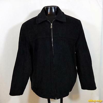 DOCKERS Wool Jacket Coat Mens Size L large Charcoal Black zippered insulated