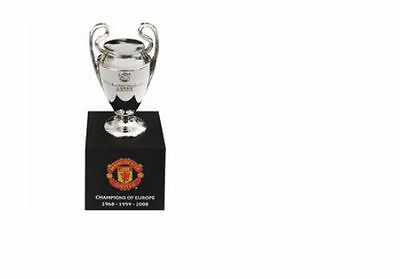 Manchester United Official Past Winners Of Europe Trophy On Wooden Base