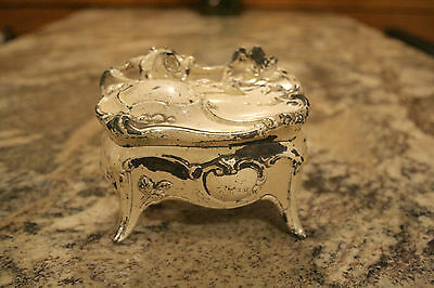ANTIQUE VICTORIAN METAL JEWELRY BOX CASKET UNIQUE CREAM COLOR w ART NOUVEAU ROSE