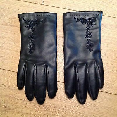 ladies black leather gloves with embroidered detail
