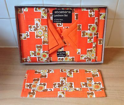 Vintage Table Place Mats and Napkins x 4 Retro, Kitsch, Orange, Floral, Boxed