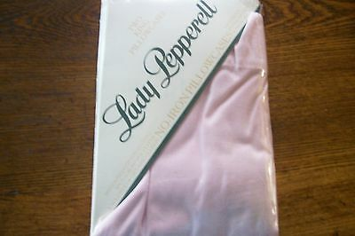 Vintage Lady Pepperell 2 King Pillowcases Solid Pink No Iron Nip Unused