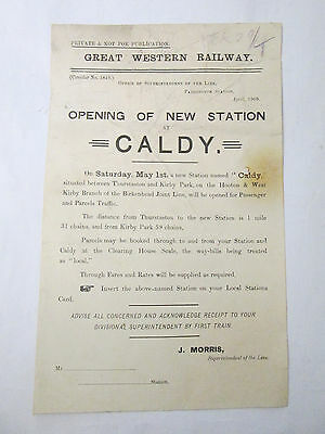 Vintage Caldy The Wirral Great Western Railway Handbill CALDY Opening 1909