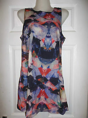 Thin summer multi pattern dress party evening size 10  pretty sleeveless top