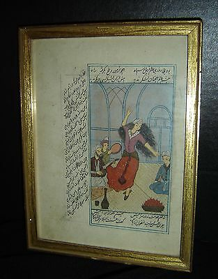 Antique Islamic Persian Manuscript Painting Signed Double side Superb.