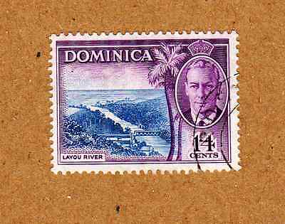 Dominica: 1951 George VI 14 cents - Layou River SG129 Used