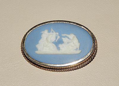 Vintage Wedgewood Blue Jasperware Gold-Filled Pin Brooch By Rainbow