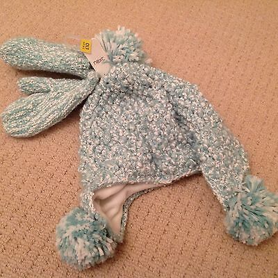 New with tags Next hat and mitten set age 5-6 mint green