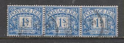 GB - 1915 Postage Due - 1/- Bright blue - Strip of 3, Used.